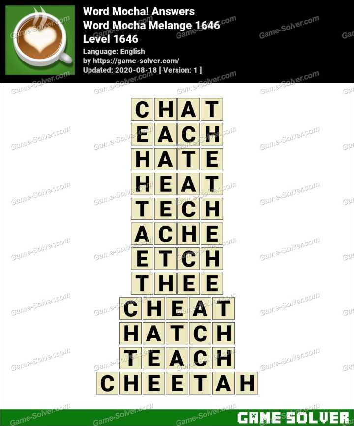 Word Mocha Melange 1646 Answers