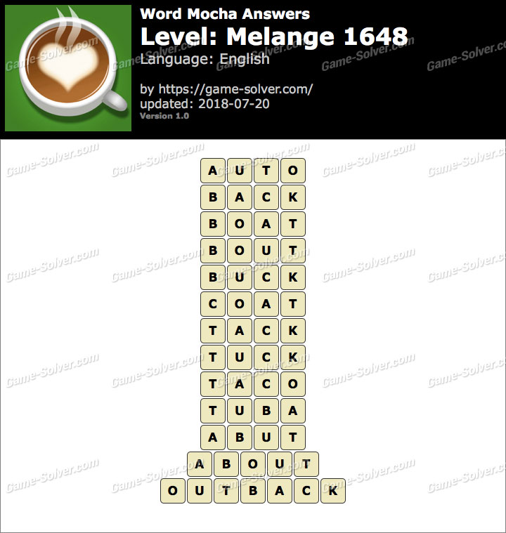 Word Mocha Melange 1648 Answers