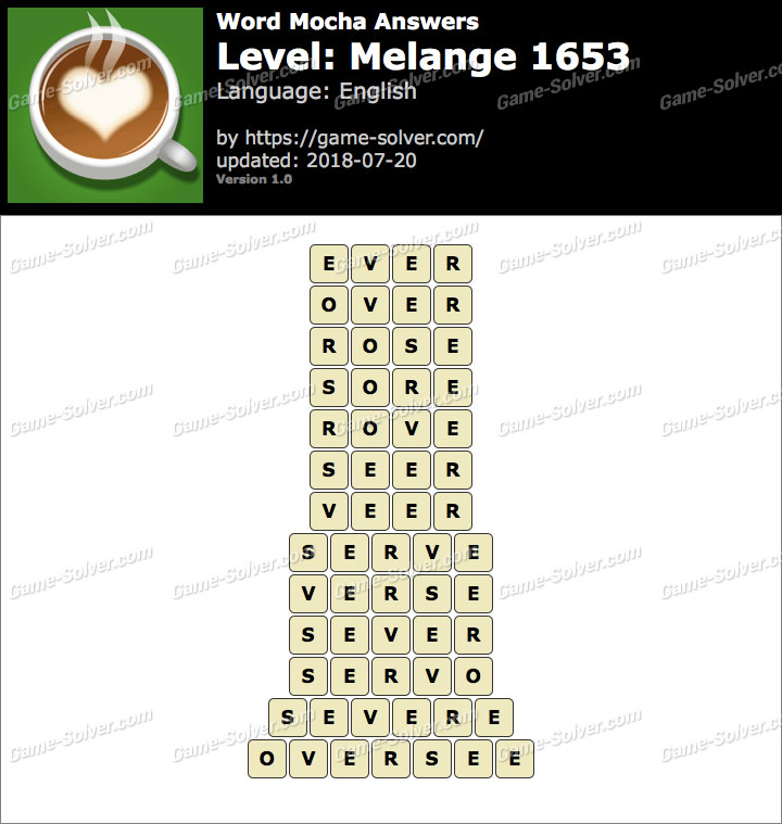 Word Mocha Melange 1653 Answers