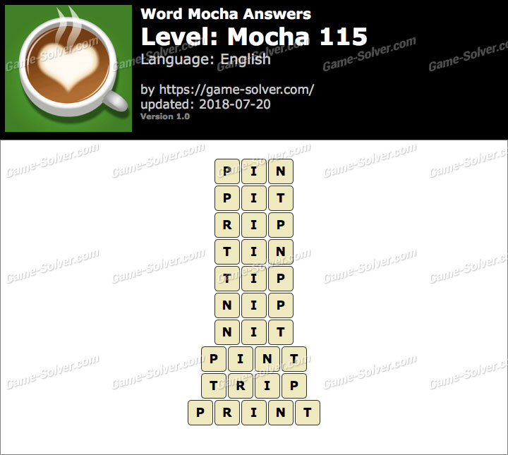 Word Mocha Mocha 115 Answers