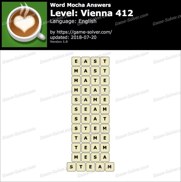Word Mocha Vienna 412 Answers