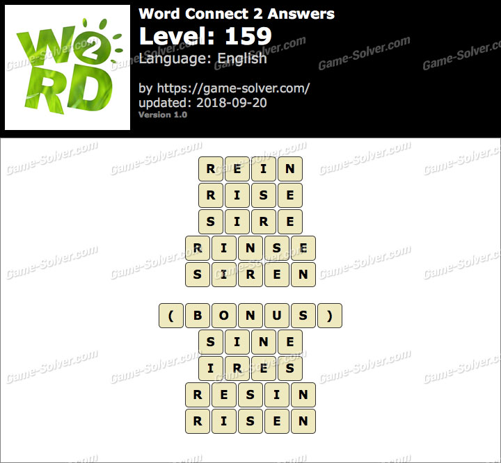 Word Connect 2 Level 159 Answers