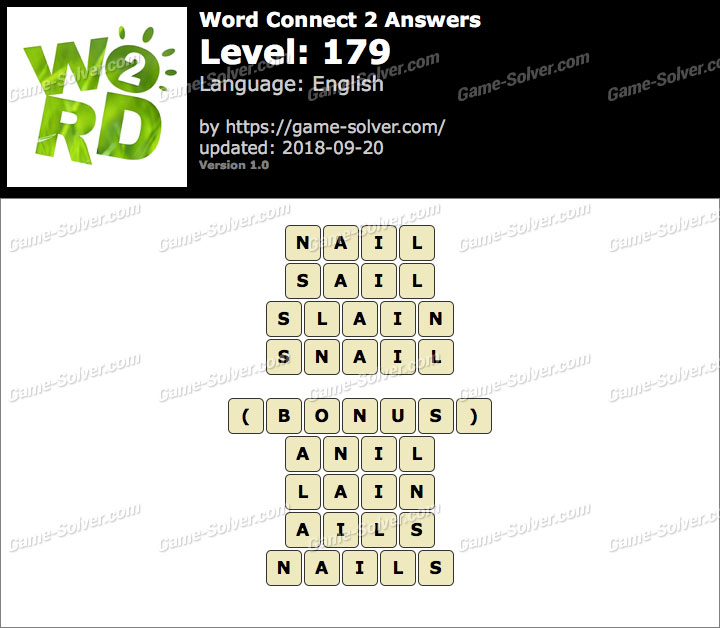 Word Connect 2 Level 179 Answers