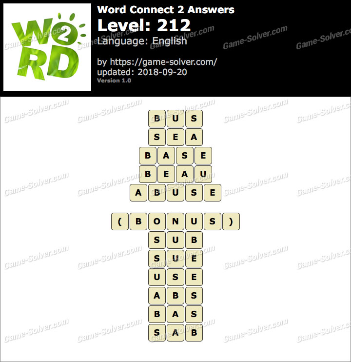 Word Connect 2 Level 212 Answers