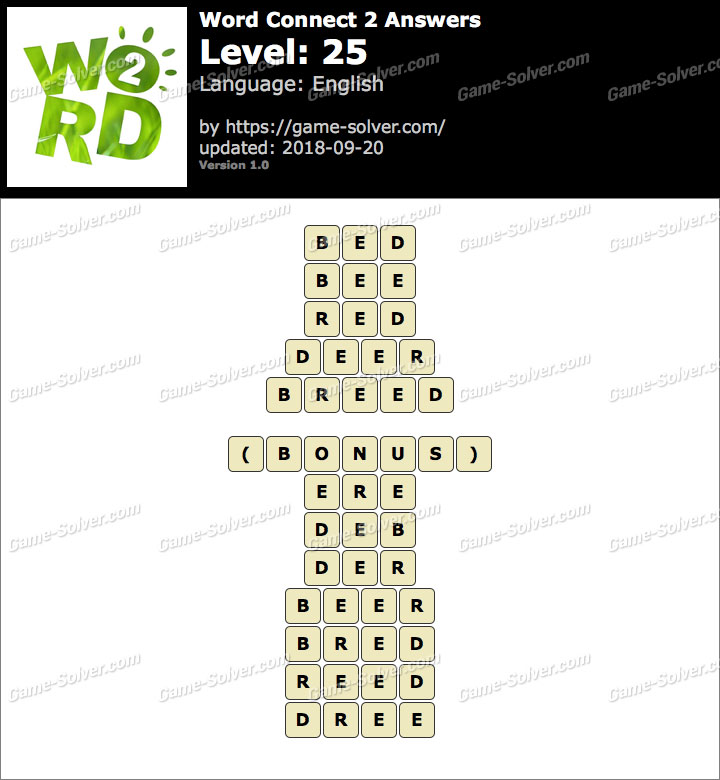 Word Connect 2 Level 25 Answers