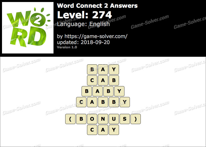 Word Connect 2 Level 274 Answers