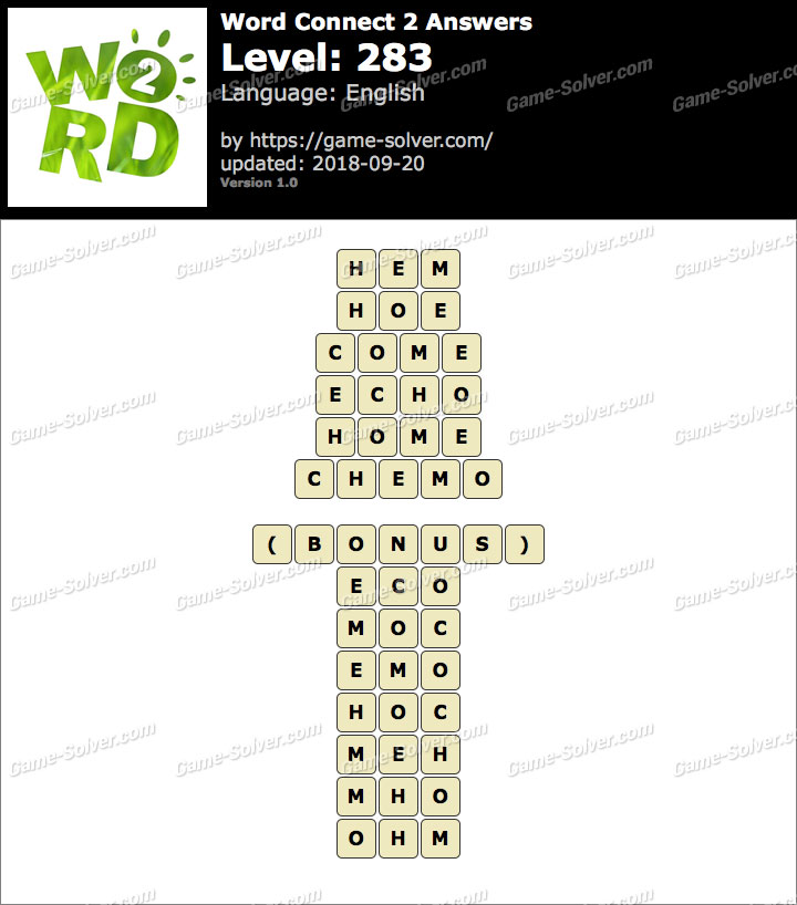 Word Connect 2 Level 283 Answers