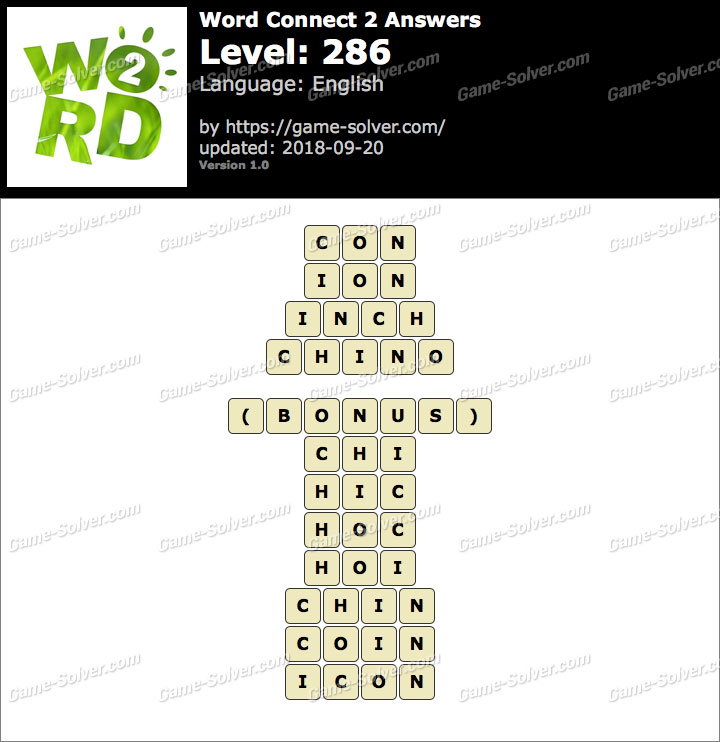 Word Connect 2 Level 286 Answers