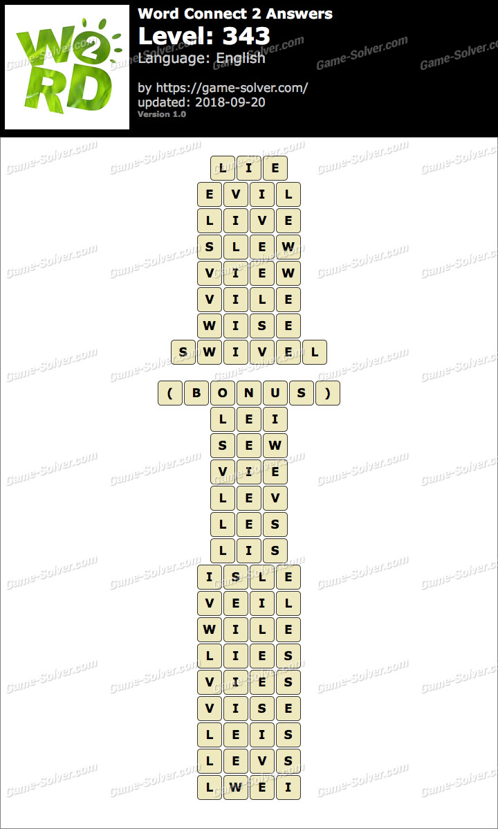 Word Connect 2 Level 343 Answers