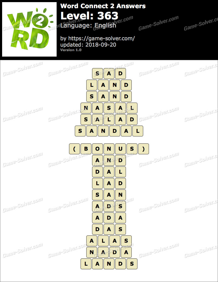 Word Connect 2 Level 363 Answers