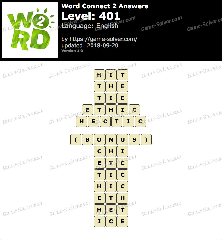 Word Connect 2 Level 401 Answers
