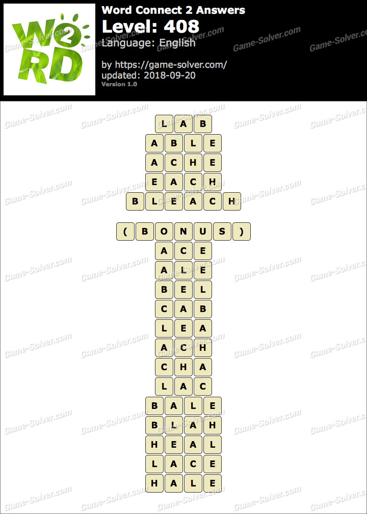 Word Connect 2 Level 408 Answers