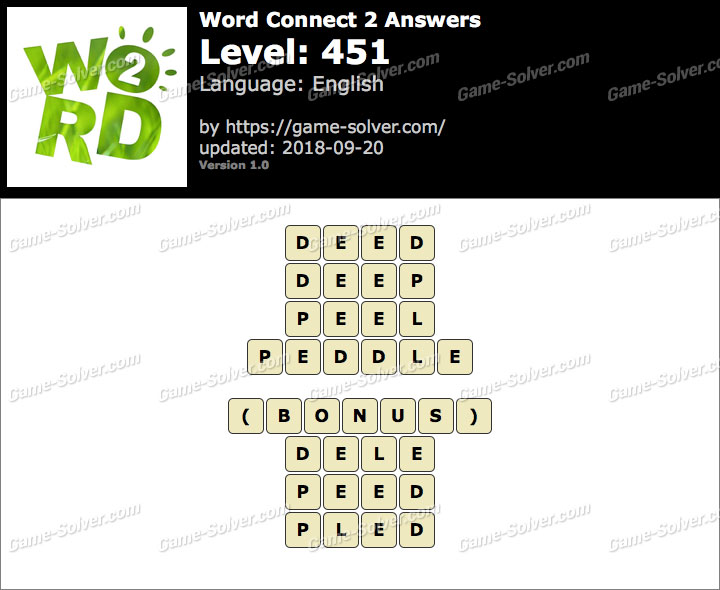 Word Connect 2 Level 451 Answers