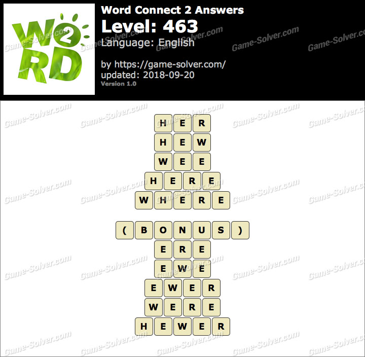 Word Connect 2 Level 463 Answers