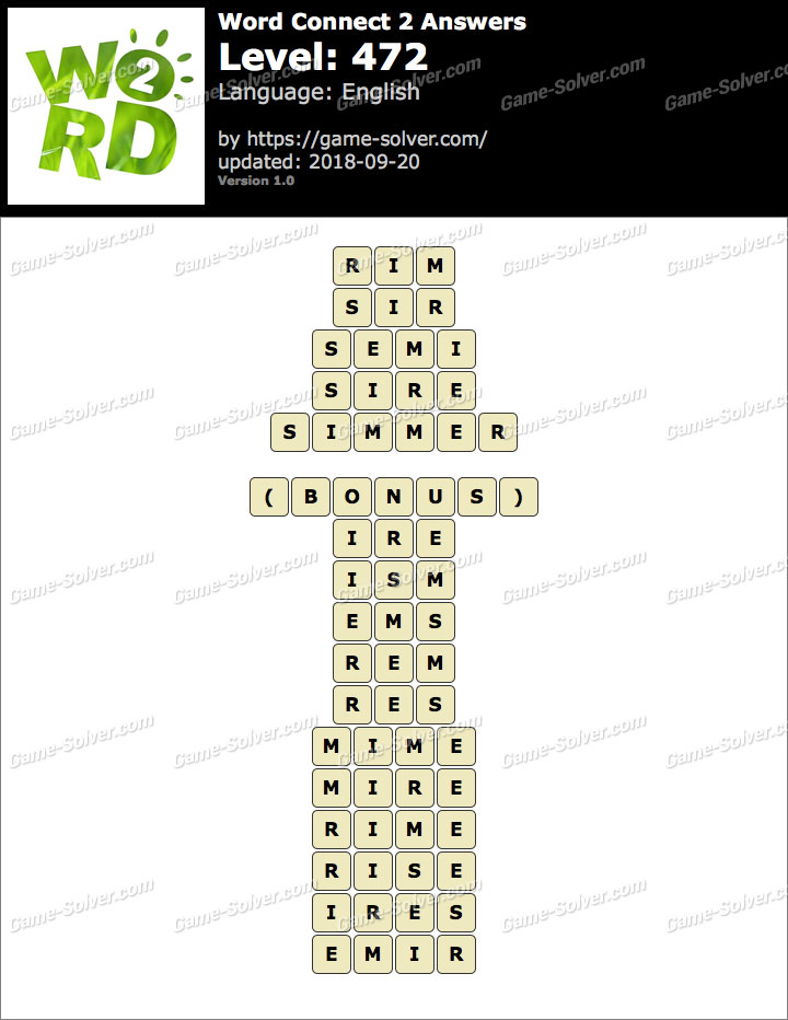 Word Connect 2 Level 472 Answers