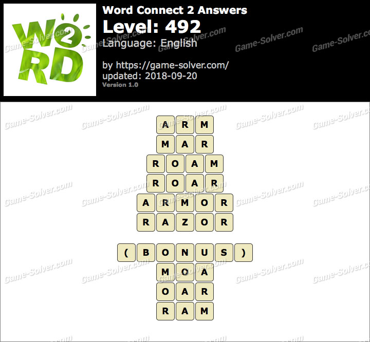 Word Connect 2 Level 492 Answers