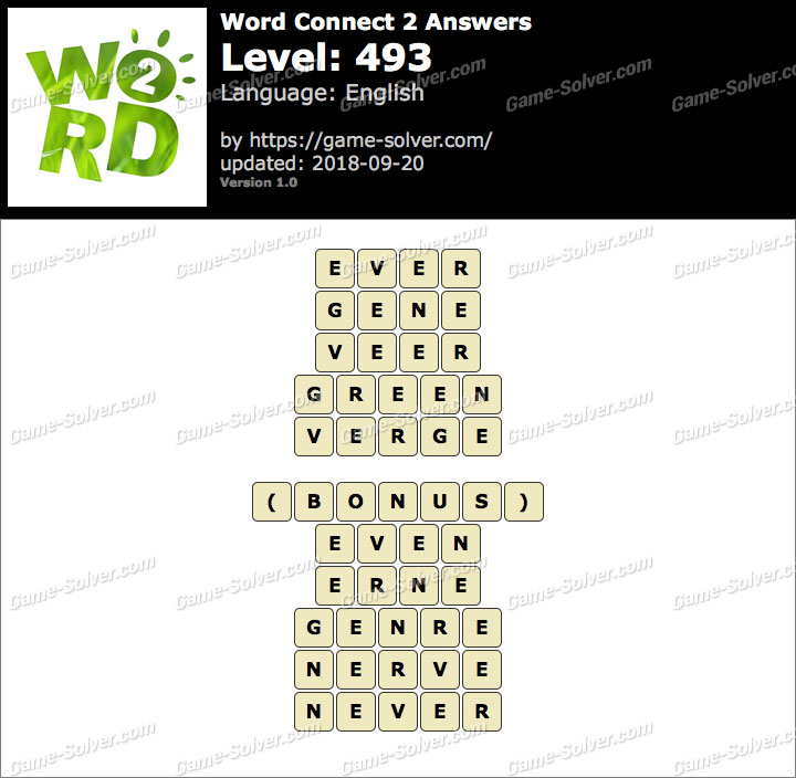 Word Connect 2 Level 493 Answers