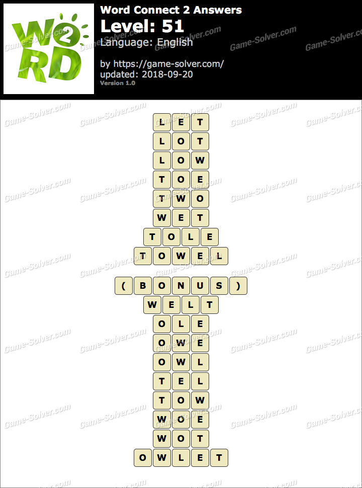 Word Connect 2 Level 51 Answers