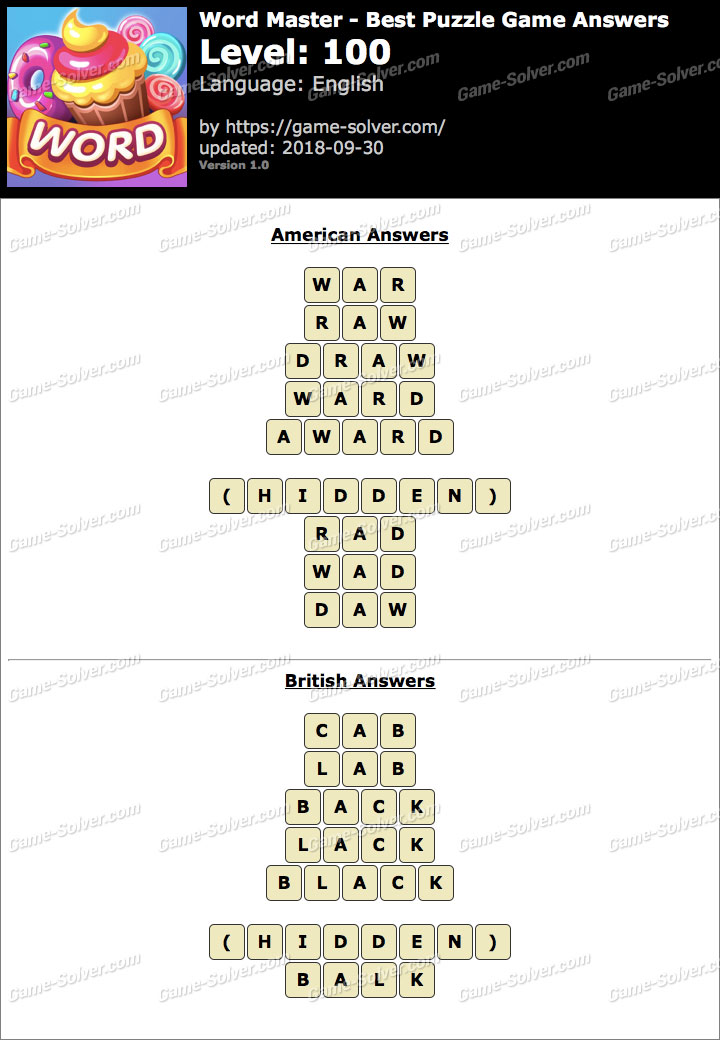 Word Master-Best Puzzle Game Level 100 Answers