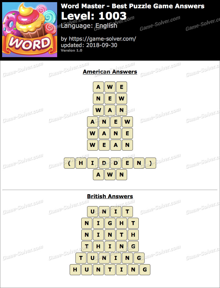 Word Master-Best Puzzle Game Level 1003 Answers