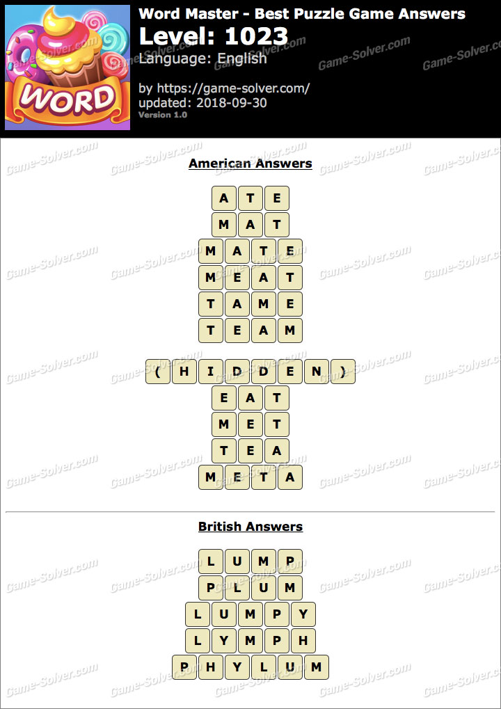 Word Master-Best Puzzle Game Level 1023 Answers