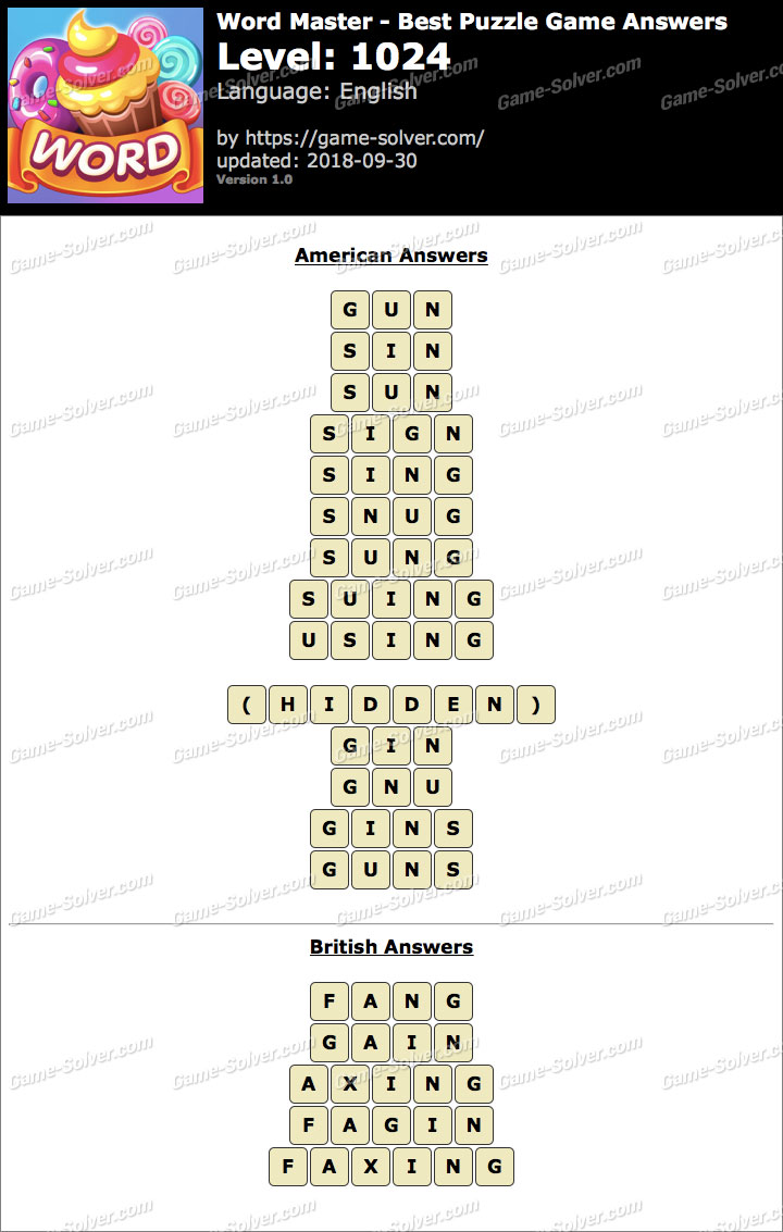 Word Master-Best Puzzle Game Level 1024 Answers