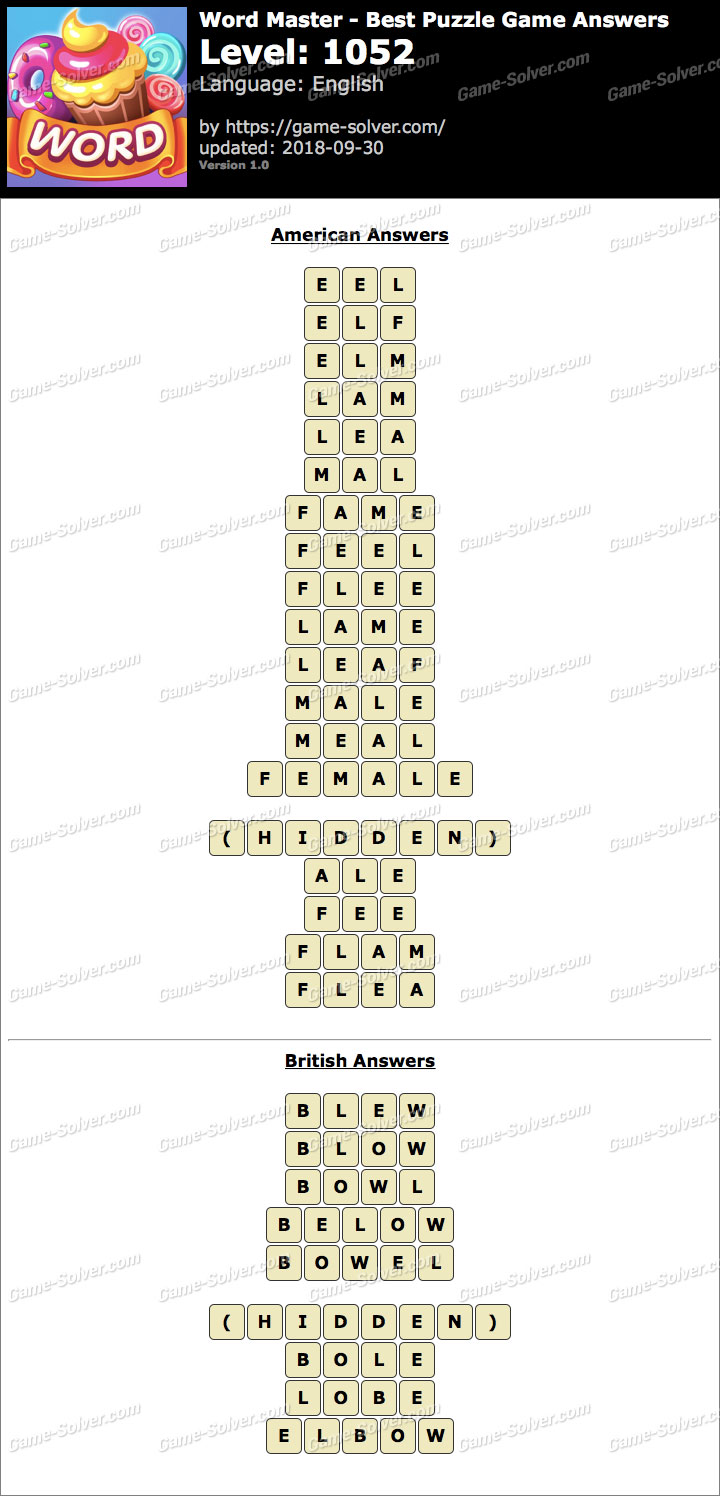 Word Master-Best Puzzle Game Level 1052 Answers
