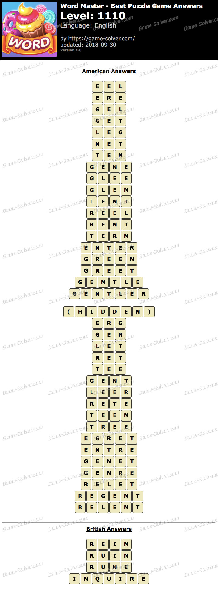 Word Master-Best Puzzle Game Level 1110 Answers