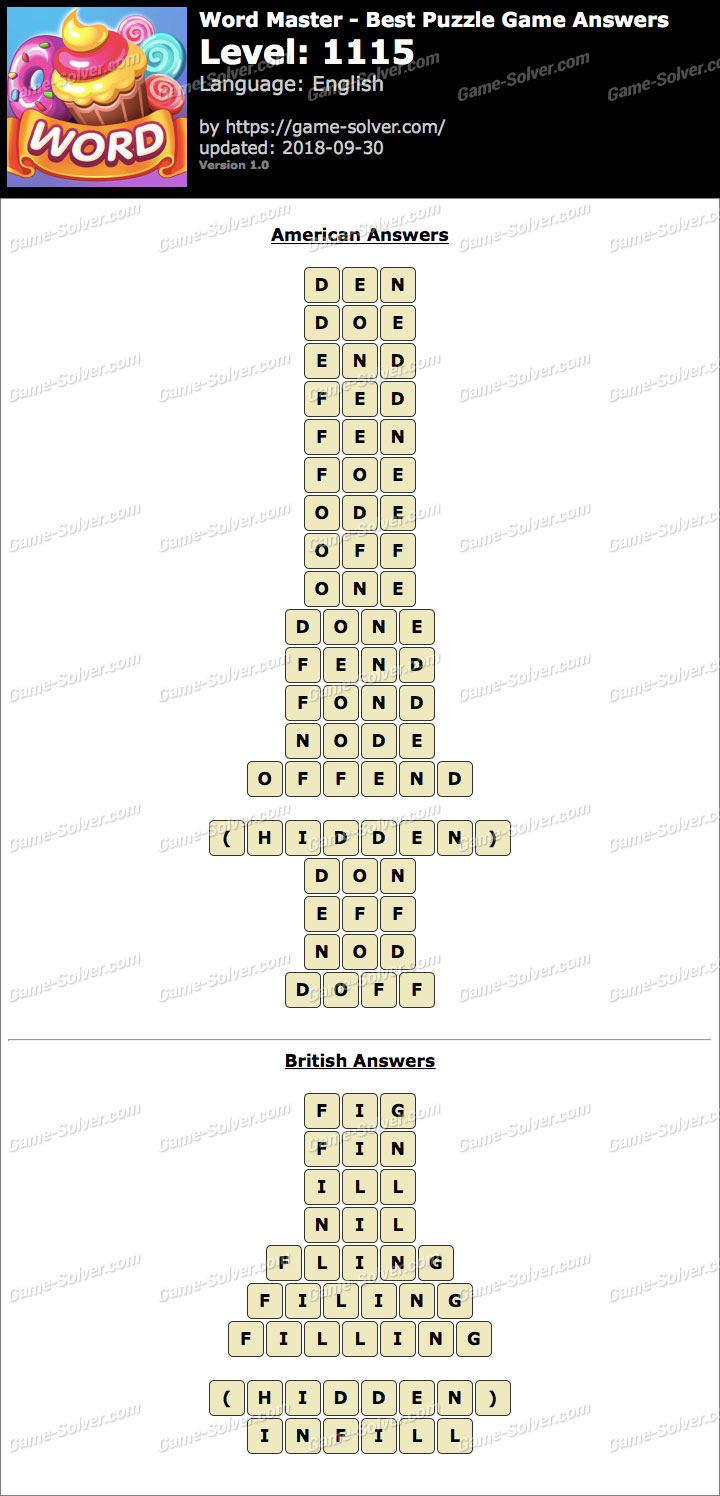 Word Master-Best Puzzle Game Level 1115 Answers