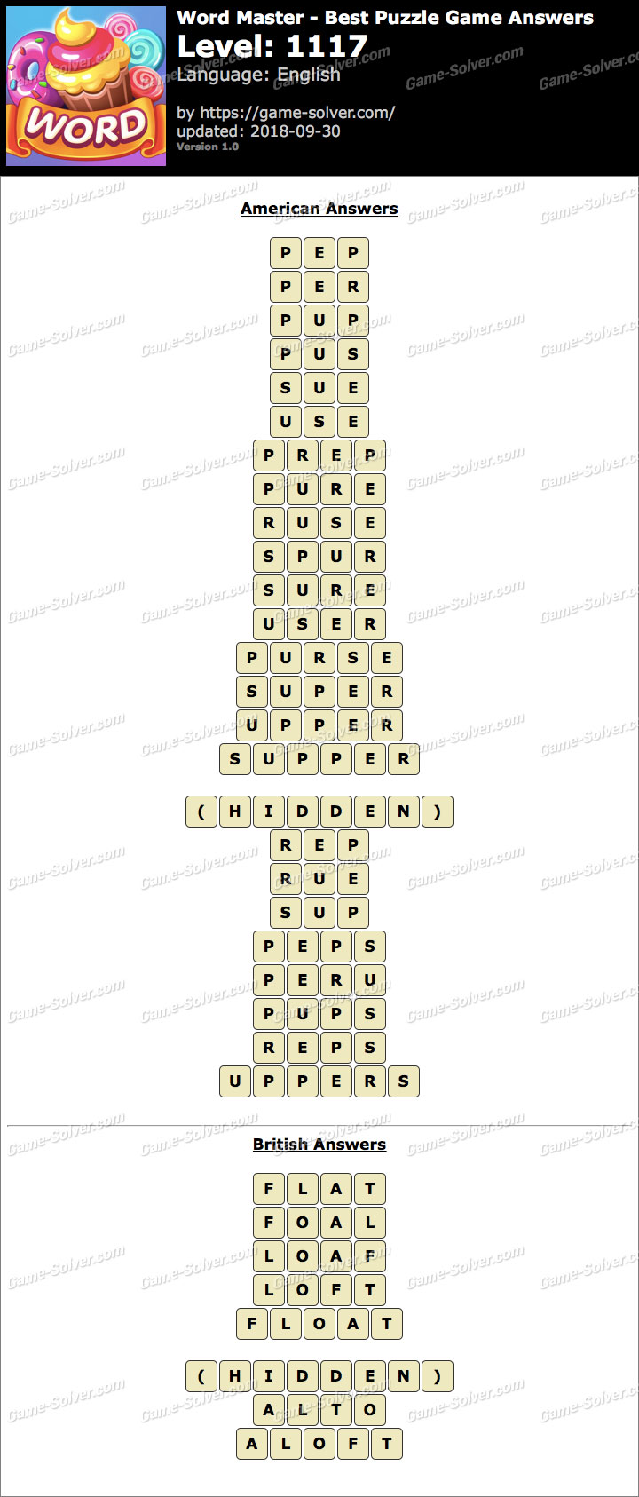 Word Master-Best Puzzle Game Level 1117 Answers