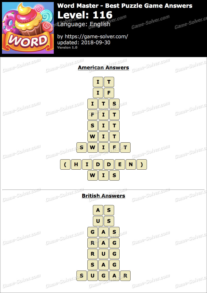 Word Master-Best Puzzle Game Level 116 Answers