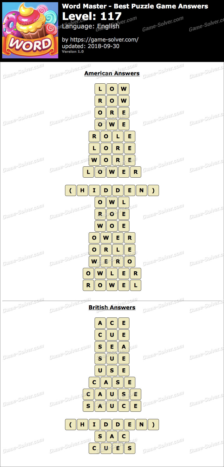 Word Master-Best Puzzle Game Level 117 Answers