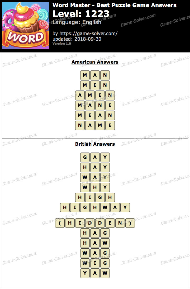 Word Master-Best Puzzle Game Level 1223 Answers
