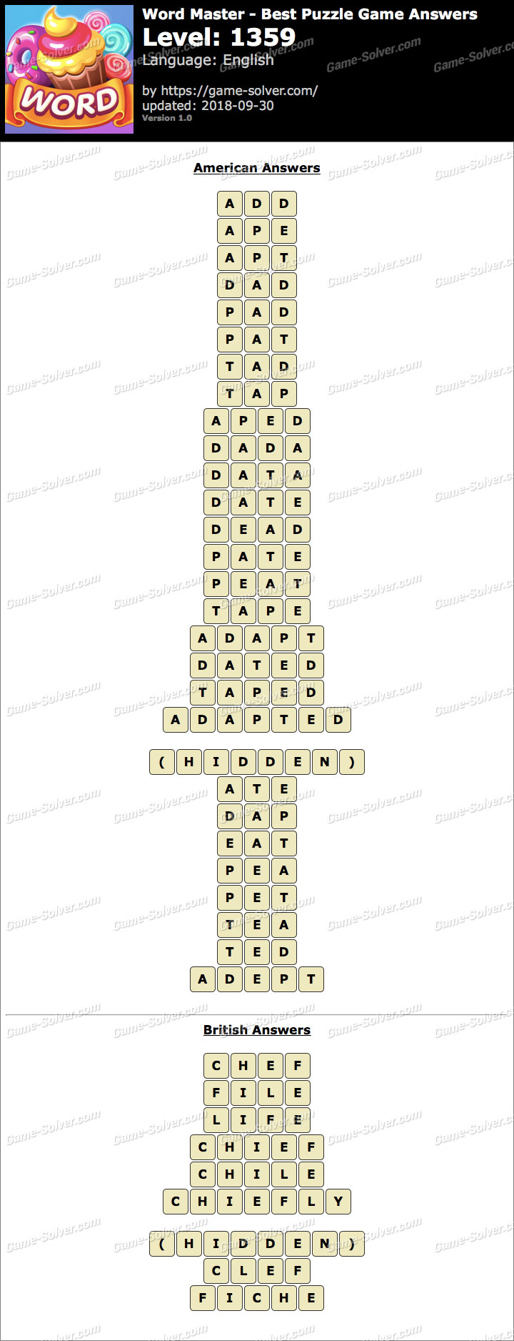 Word Master-Best Puzzle Game Level 1359 Answers