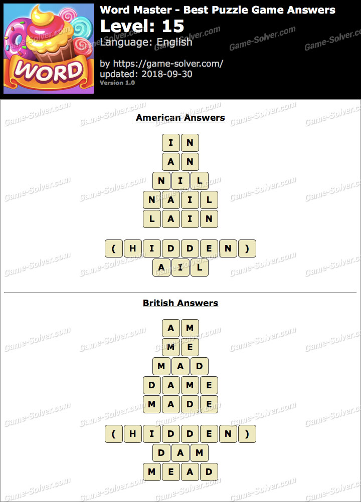 Word Master-Best Puzzle Game Level 15 Answers