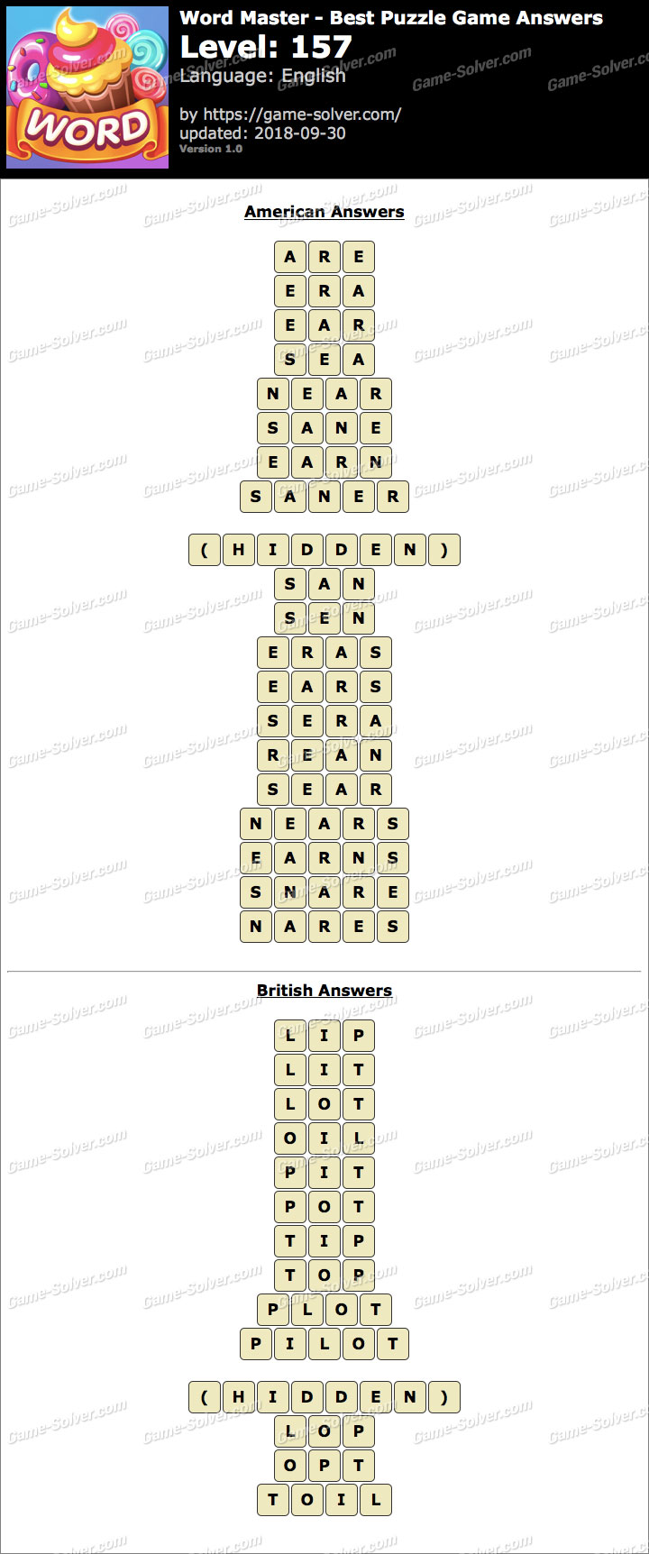 Word Master-Best Puzzle Game Level 157 Answers