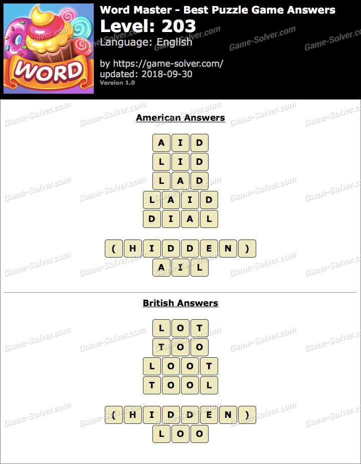 Word Master-Best Puzzle Game Level 203 Answers