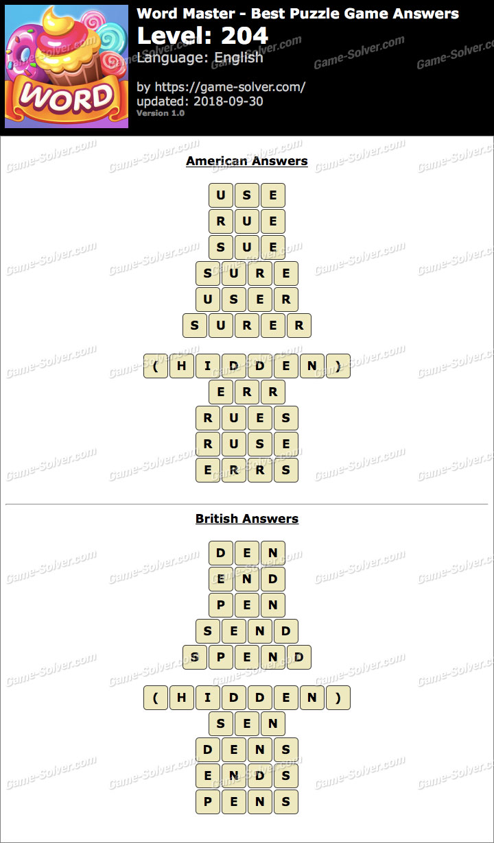 Word Master-Best Puzzle Game Level 204 Answers