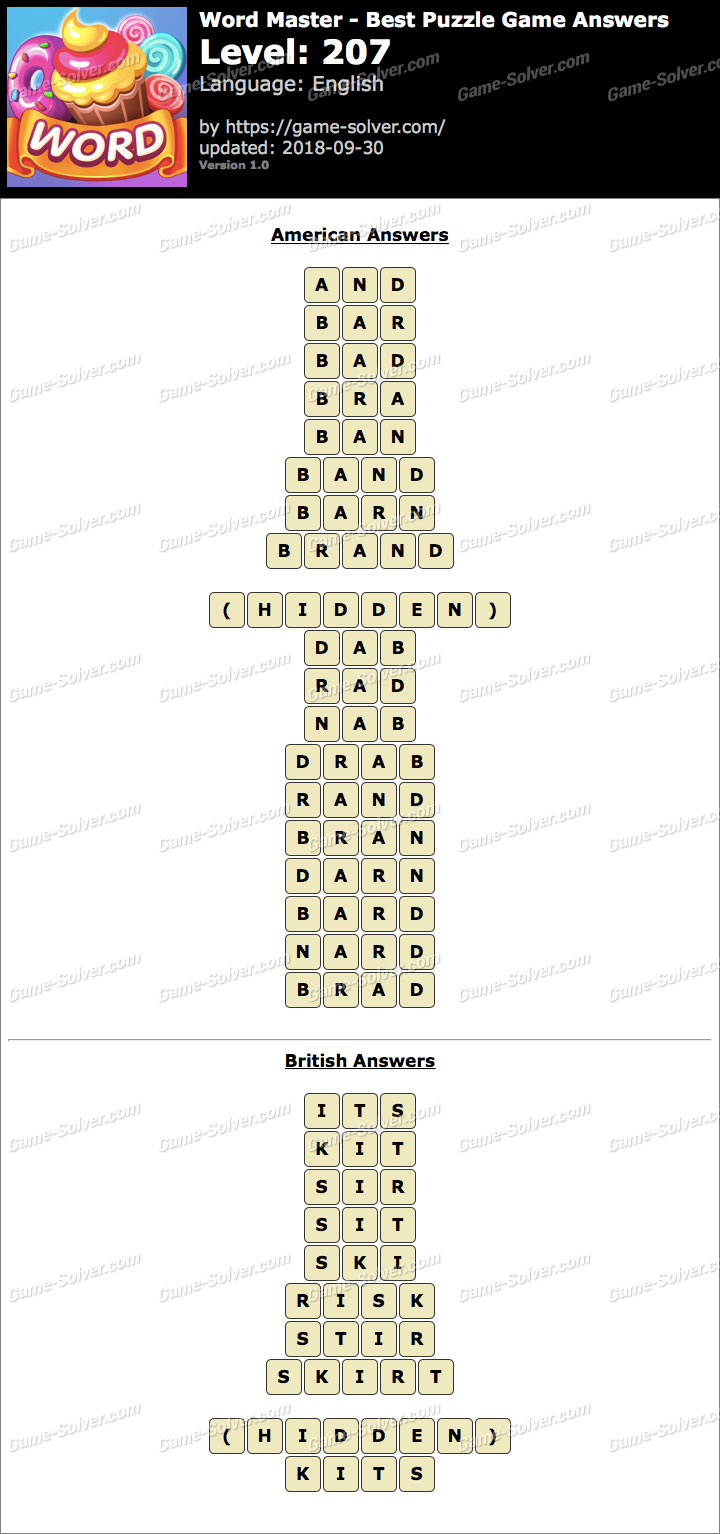 Word Master-Best Puzzle Game Level 207 Answers