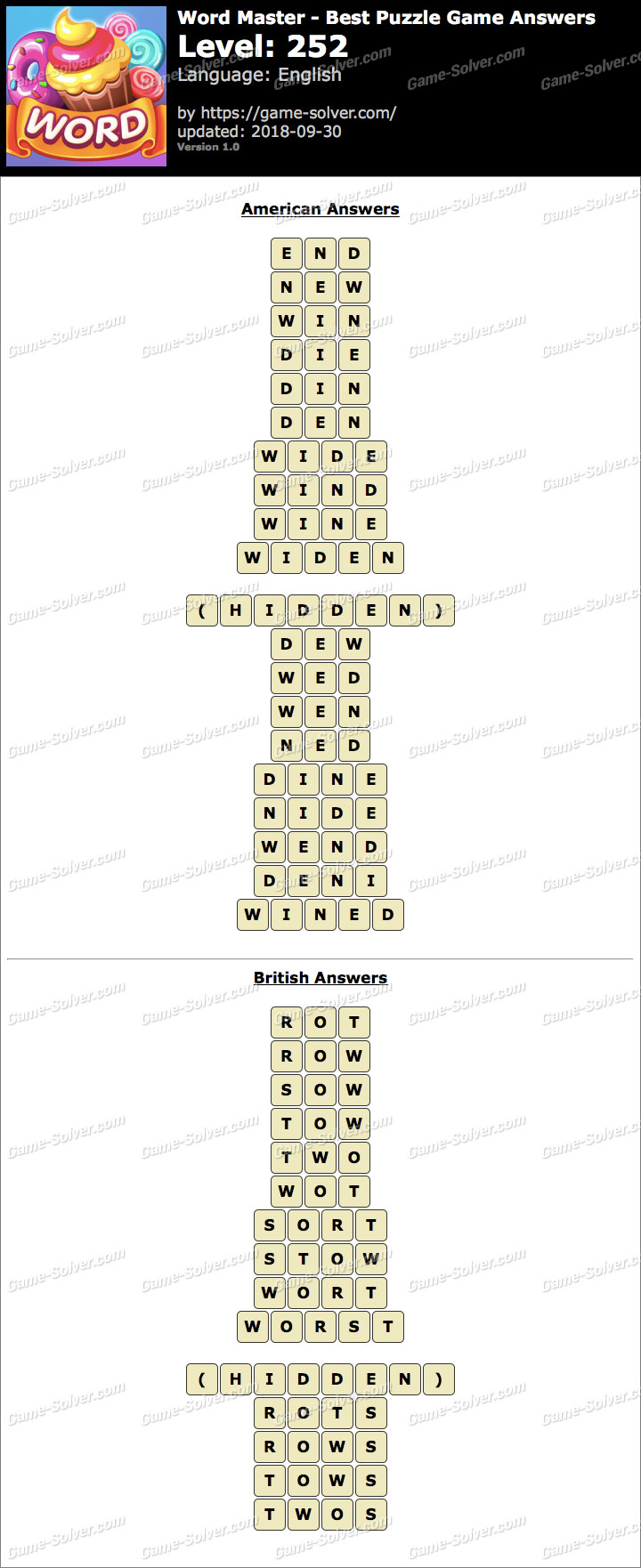Word Master-Best Puzzle Game Level 252 Answers