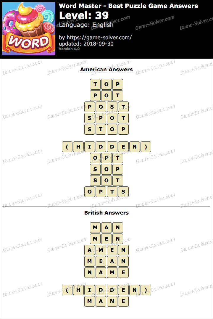 Word Master-Best Puzzle Game Level 39 Answers