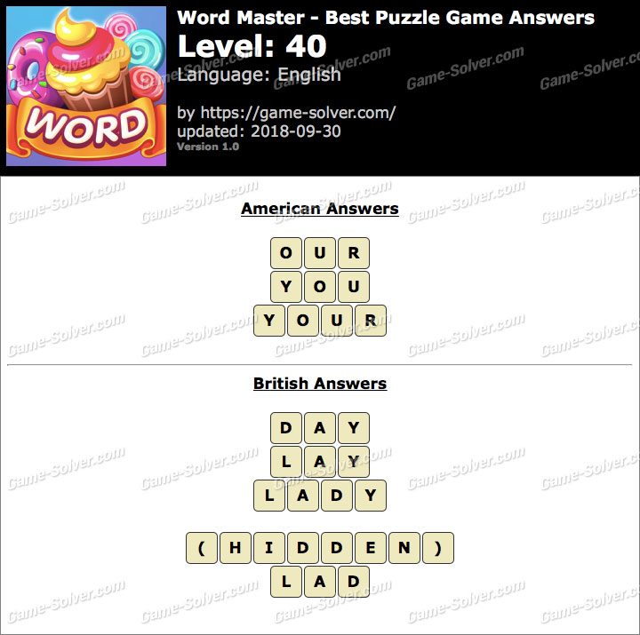 Word Master-Best Puzzle Game Level 40 Answers