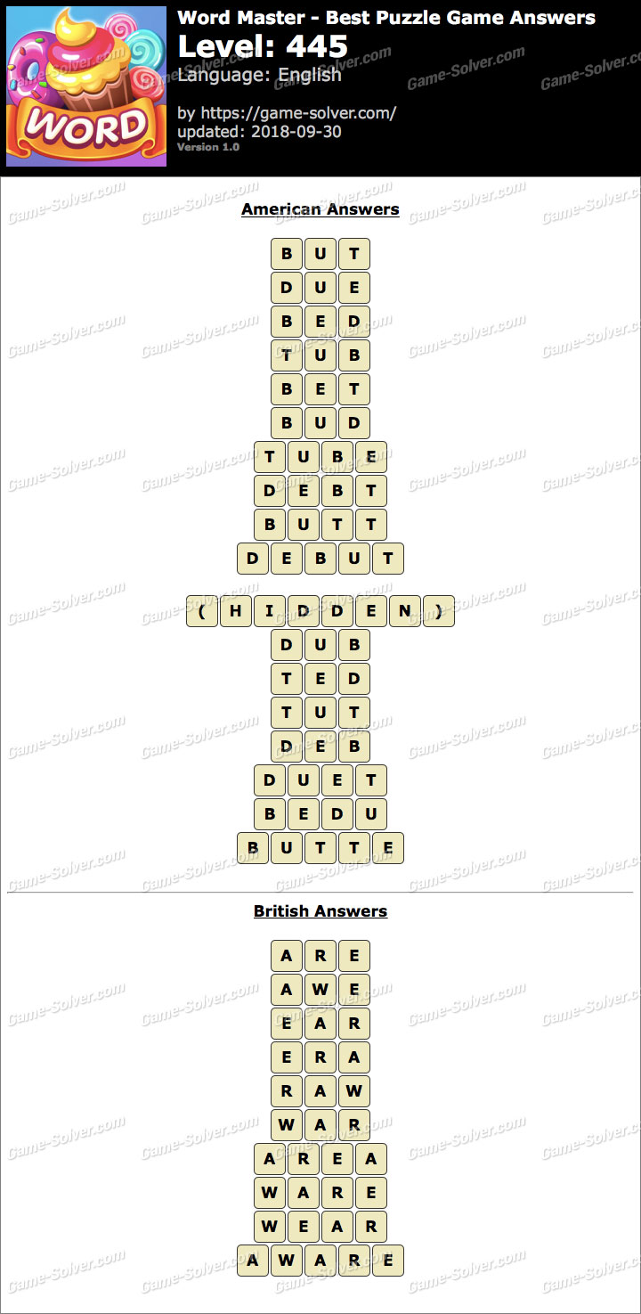 Word Master-Best Puzzle Game Level 445 Answers