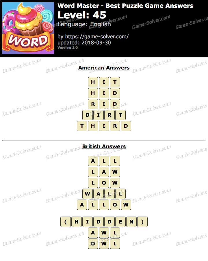 Word Master-Best Puzzle Game Level 45 Answers