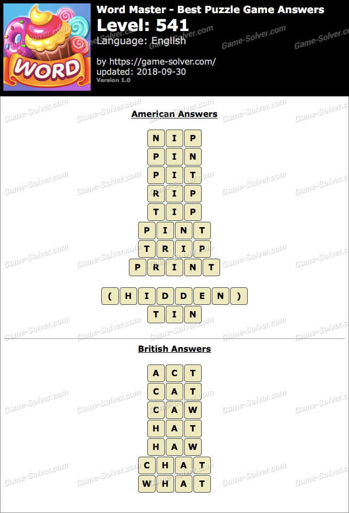 Word Master-Best Puzzle Game Level 541 Answers
