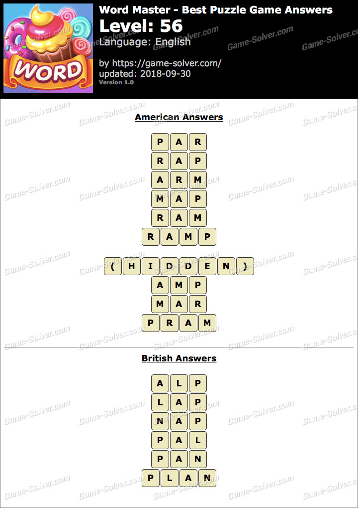 Word Master-Best Puzzle Game Level 56 Answers