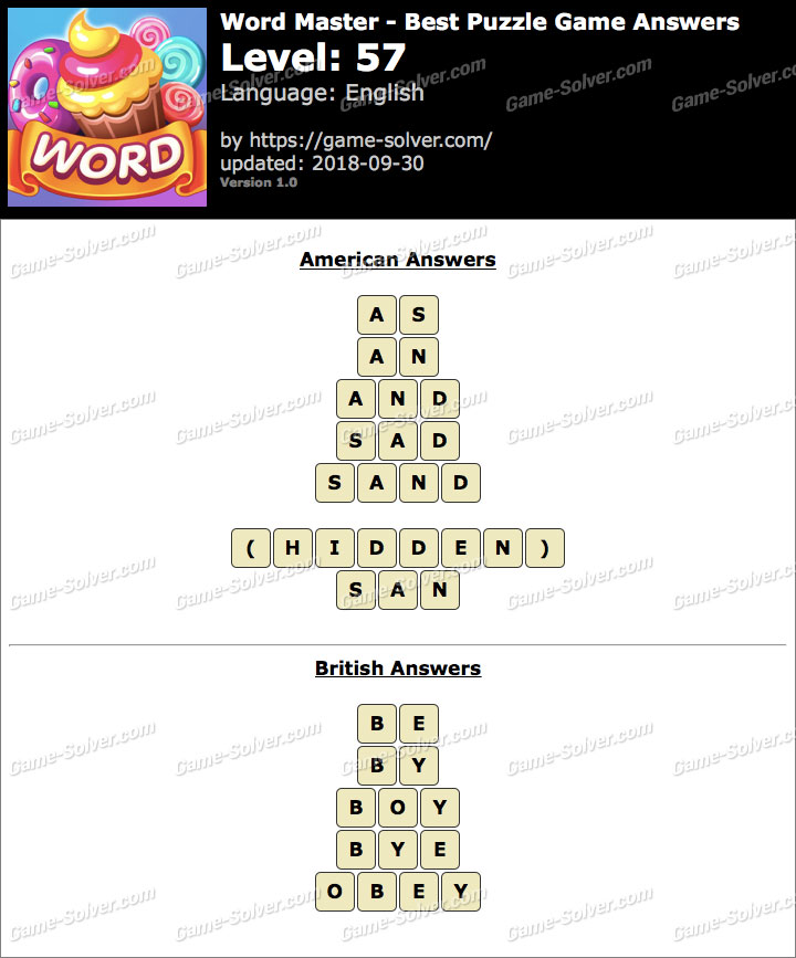 Word Master-Best Puzzle Game Level 57 Answers