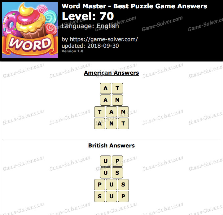 Word Master-Best Puzzle Game Level 70 Answers
