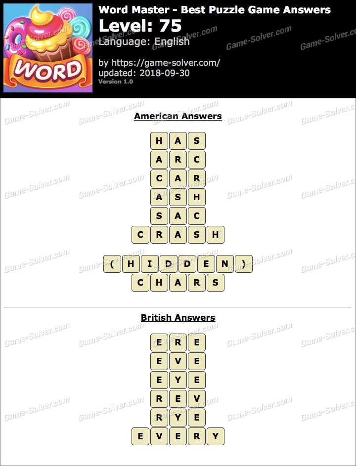 Word Master-Best Puzzle Game Level 75 Answers