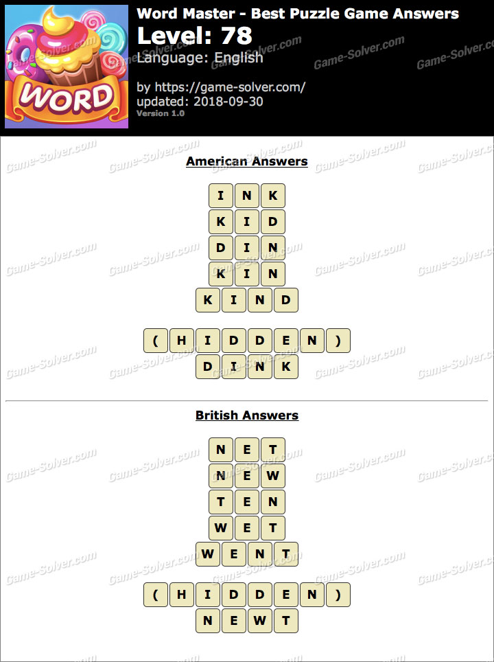 Word Master-Best Puzzle Game Level 78 Answers